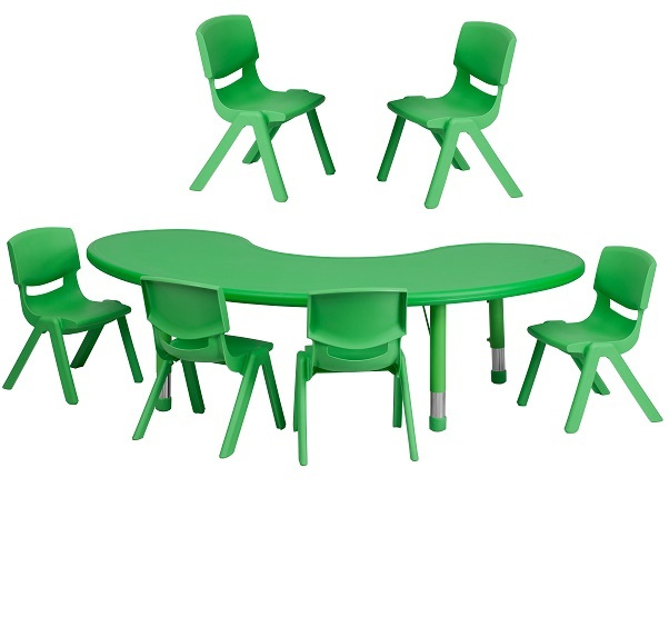 FF Half-moon 35 x 65 Table & 6 Chair Set 12 - green