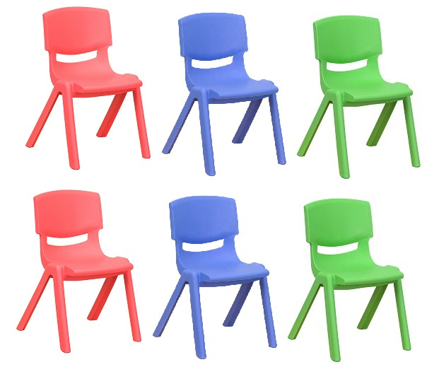 "FF STACKABLE 10.5"" SCHOOL CHAIR 6-Pack - Assorted"