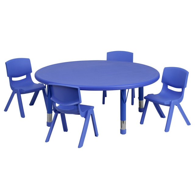 45'' ROUND ADJUSTABLE BLUE PLASTIC ACTIVITY TABLE SET WITH 4 SCHOOL STACK CHAIRS 10.5