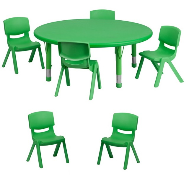 "FF 45 round Table & 6 Chairs 12"" green"