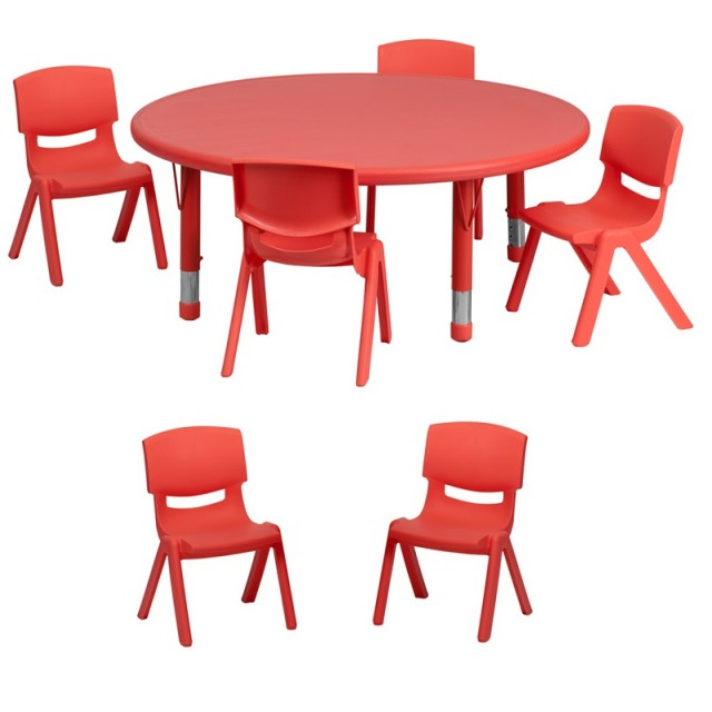 "FF 45 round Table & 6 Chairs 12"" red"
