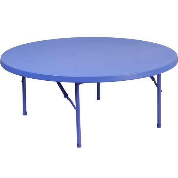 "FF Kids Plastic Folding Table 48"" Round - Blue"