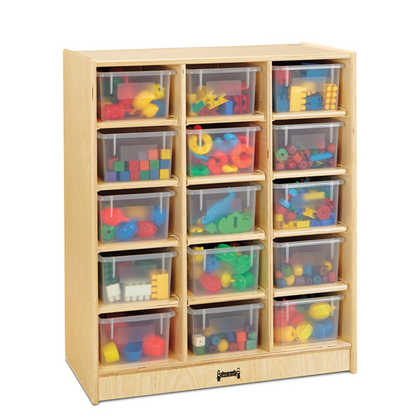 Jonti-Craft 15 Cubbie-Tray Mobile Unit with Clear Trays 06480JC
