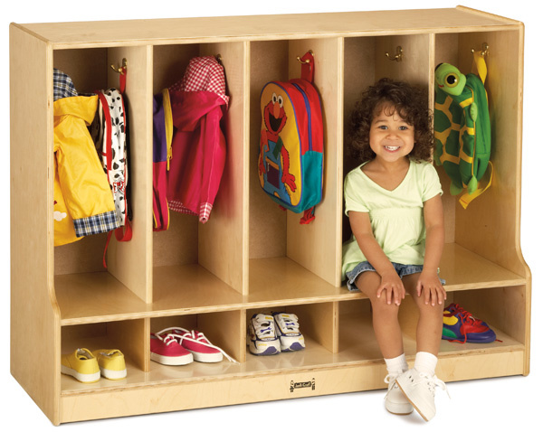 6684JC Toddler 5 Section Coat Locker with Step