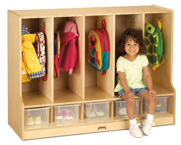 66850JC Toddler 5 Section Coat Locker w/ Step - 5 Clear Trays