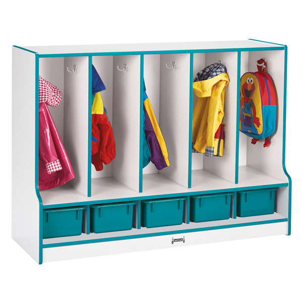 6685JCWW Rainbow Accents Toddler 5 Section Coat Locker with Step & Trays