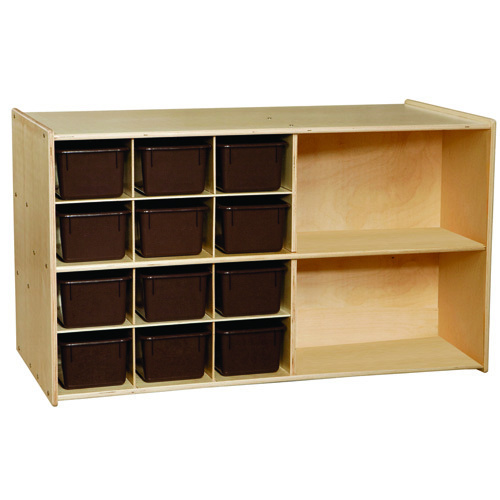 C16602 Double Mobile Storage with 12 brown Trays RTA