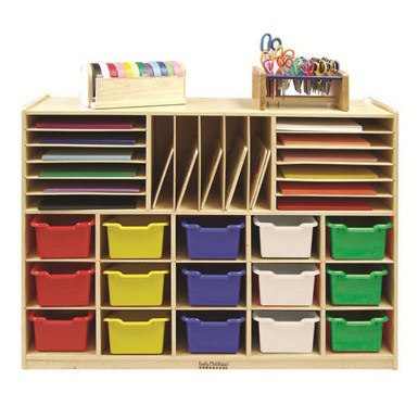 Multi-Section Storage Cabinet w/ 15 Bins - AS