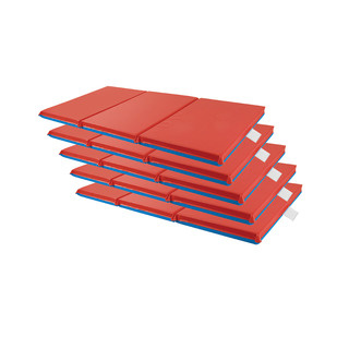"ELR-0575 3-Fold 2"" Thick Rest Mat Red/Blue - 5 Pack"