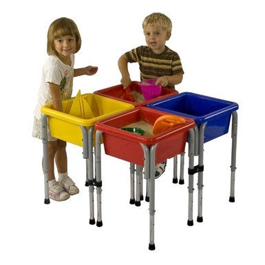 ELR-0799 4 Station Square Sand & Water Play Table with Lids
