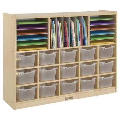 Multi­Section Storage Cabinet w/ 15 Bins clear