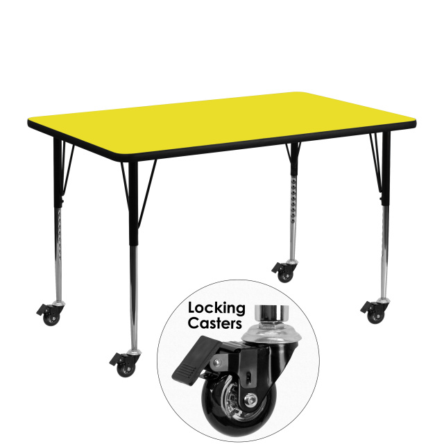 FF YELLOW MOBILE 24''W X 48''L RECTANGULAR ACTIVITY TABLE