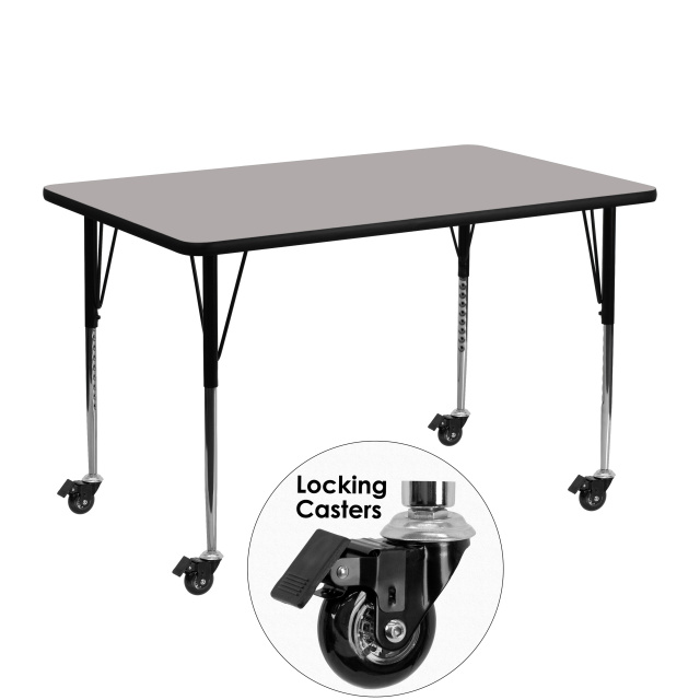 ff gray MOBILE 24''W X 48''L RECTANGULAR ACTIVITY TABLE