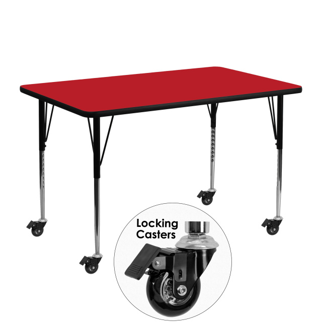 30''W X 48''L RECTANGULAR ACTIVITY TABLE red laminate
