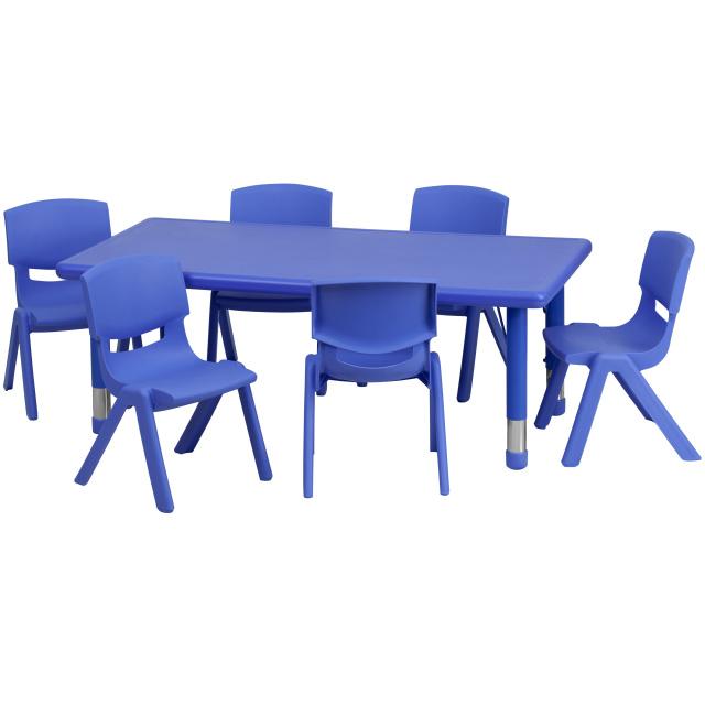 24 W X 48 L Adjule Rectangular Blue Plastic Activity Table Set With