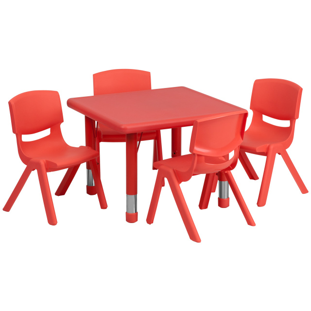 Ff Square 24 Resin Table 4 Chair 10 5 Red