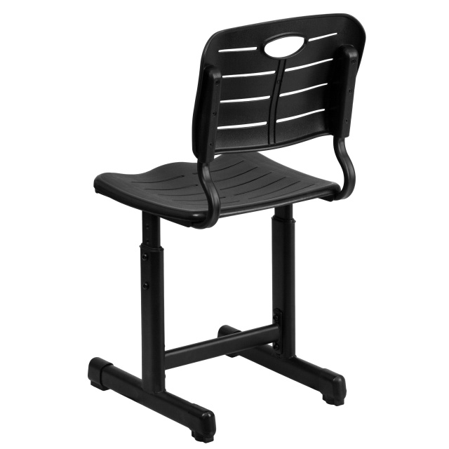 ADJUSTABLE HEIGHT BLACK STUDENT CHAIR back WITH BLACK PEDESTAL FRAME