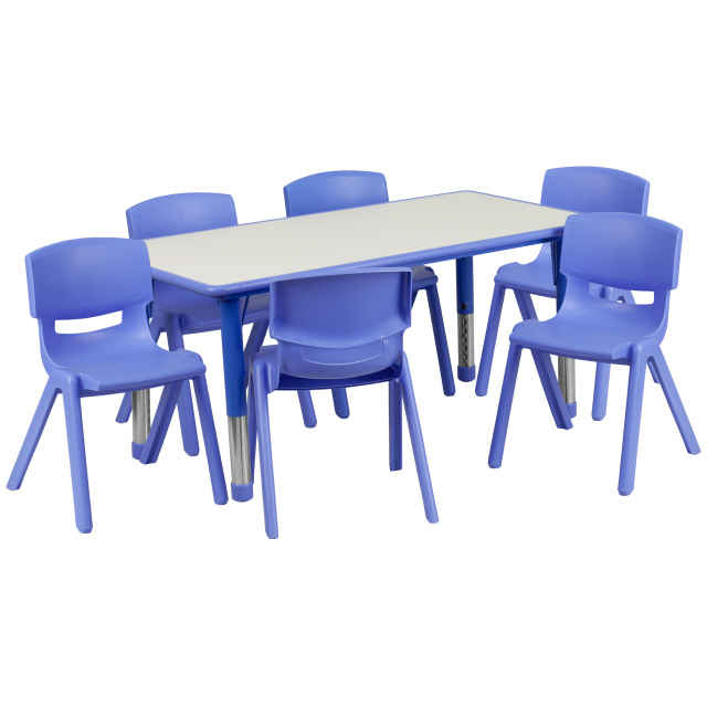 RECTANGULAR BLUE PLASTIC ACTIVITY TABLE SET WITH 6 SCHOOL STACK CHAIRS