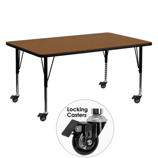 FF oak MOBILE 24''W X 60''L RECTANGULAR ACTIVITY TABLE