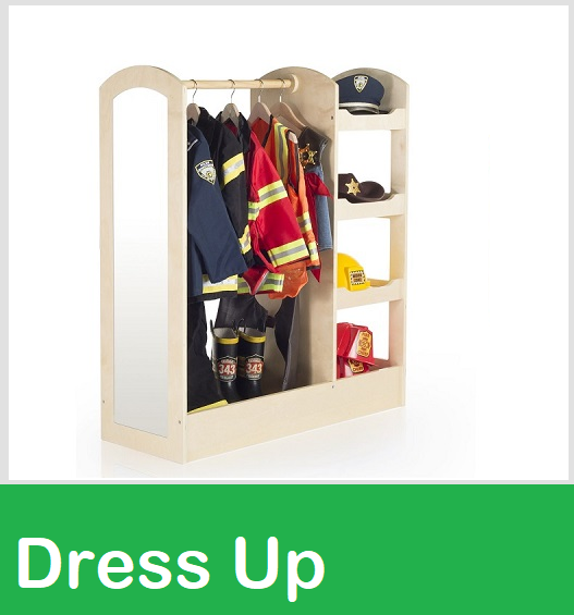 dramatic play costume storage, costume storage, dress up costume nook, round costume racks