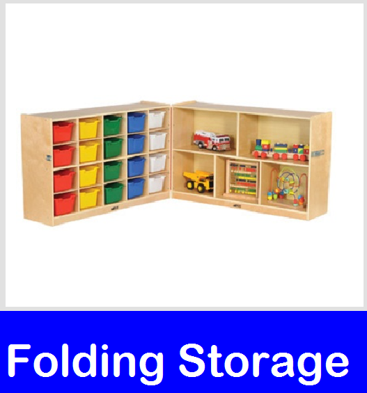 Storage - Fold & Lock Shelves and locking storage cabinets for preschool and daycare