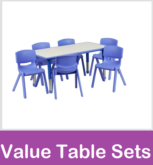 Daycare tables, Preschool table chair sets, Value Table and chairs, Resin table and chair sets by ECR4Kids, Angeles Baseline