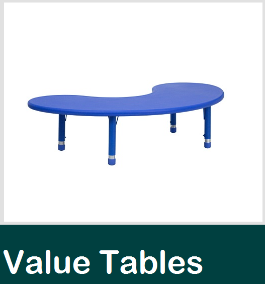 economy resin table, horseshoe table, preschool tables, value tables, plastic tables, round table, long school table, classroom tables
