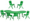 "FF Half-moon 65"" Table & 6 Chair 12"" Green"