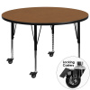 "FF 42"" Round Mobile Activity Table - Oak"