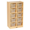 ELR-17215-CL Birch 10 Cubby Tray Cabinet with Clear Bins