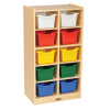 ELR-17215-AS Birch 10 Cubby Tray Cabinet with Bins