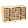 ELR-17252-CL Birch 12 Cubby Tray Cabinet with clear Bins and casters