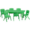 "FF 24 x 48 Resin Table w 6 Chairs 10.5"" Green"